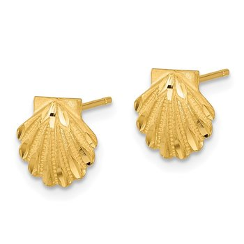 14k Satin Diamond-cut Seashell Post Earrings