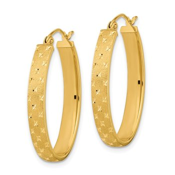 14k Polished Satin Diamond-cut Hoop Earrings