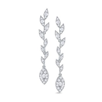 14k Gold and Diamond Laurel Linear Earring