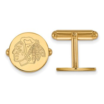 Gold-Plated Sterling Silver Chicago Blackhawks NHL Cuff Links