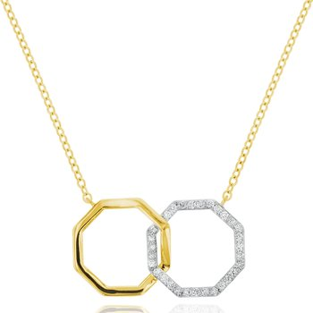 Yellow gold diamond interlocking Hero necklace