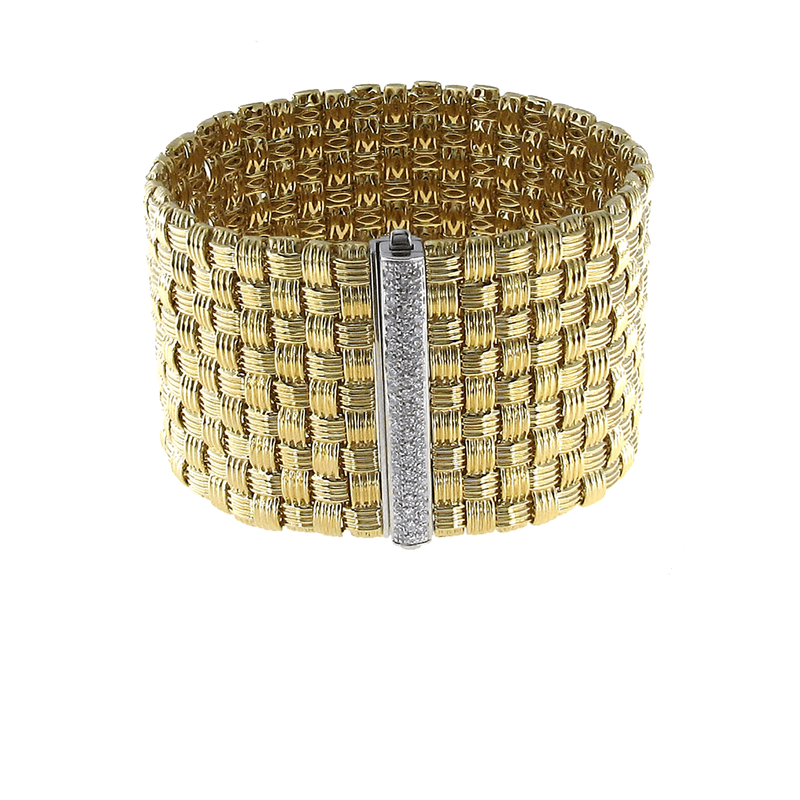 Roberto Coin 18Kt Gold 9 Row Bracelet With Diamonds