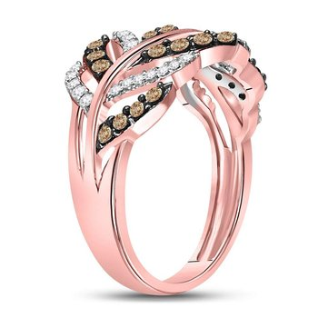 10kt Rose Gold Womens Round Brown Color Enhanced Diamond Vine Leaf Ring 5/8 Cttw