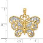 Lester Martin Online Collection 14k with Rhodium Filigree Butterfly Pendant