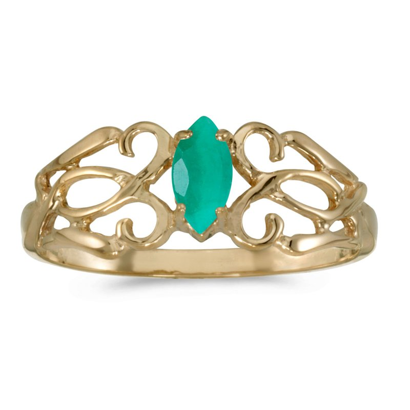 Color Merchants 10k Yellow Gold Marquise Emerald Filagree Ring