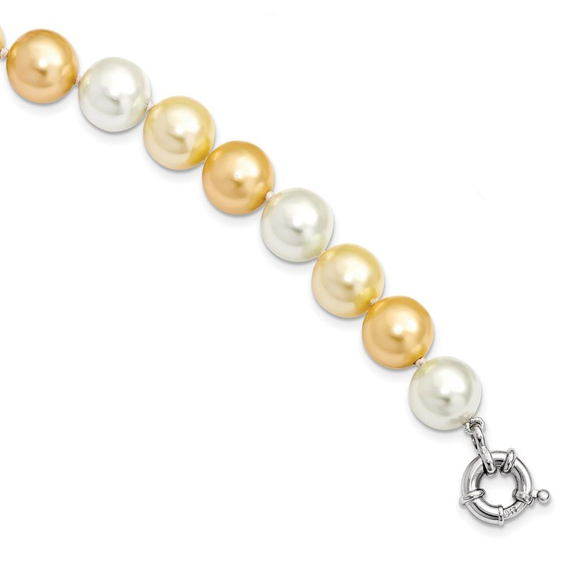Quality Gold Sterling S Majestik Rh-pl 12-13mm Yellow and Wht Imitat Shell Pearl Necklac