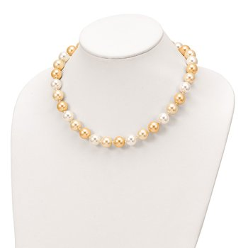 Sterling S Majestik Rh-pl 12-13mm Yellow and Wht Imitat Shell Pearl Necklac