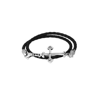Thin Braided Leather Traditional Cross Double Wrapped Bracelet