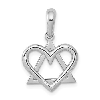 14K White Gold Star of David Heart Pendant