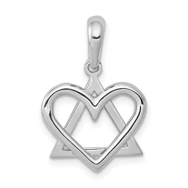 Quality Gold 14K White Gold Star of David Heart Pendant