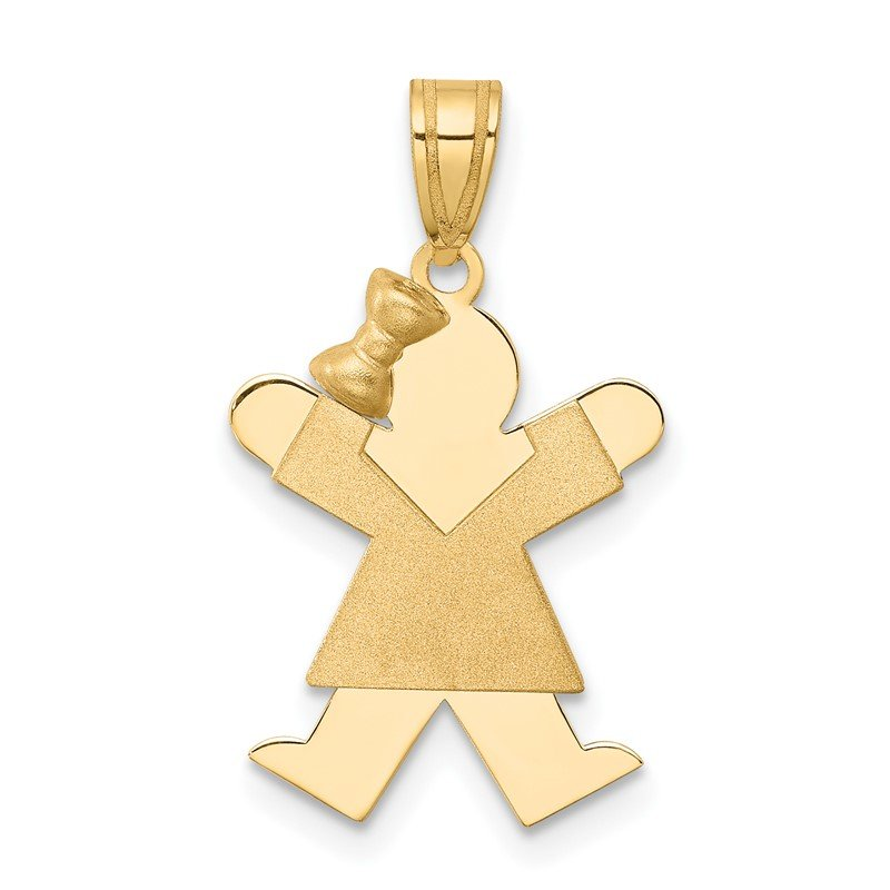 Quality Gold 14k Solid Engravable Girl with Bow on Left Charm