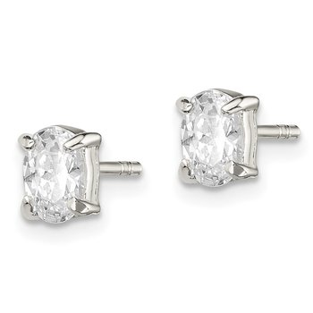 Sterling Silver 4x6mm Oval Basket Set CZ Stud Earrings