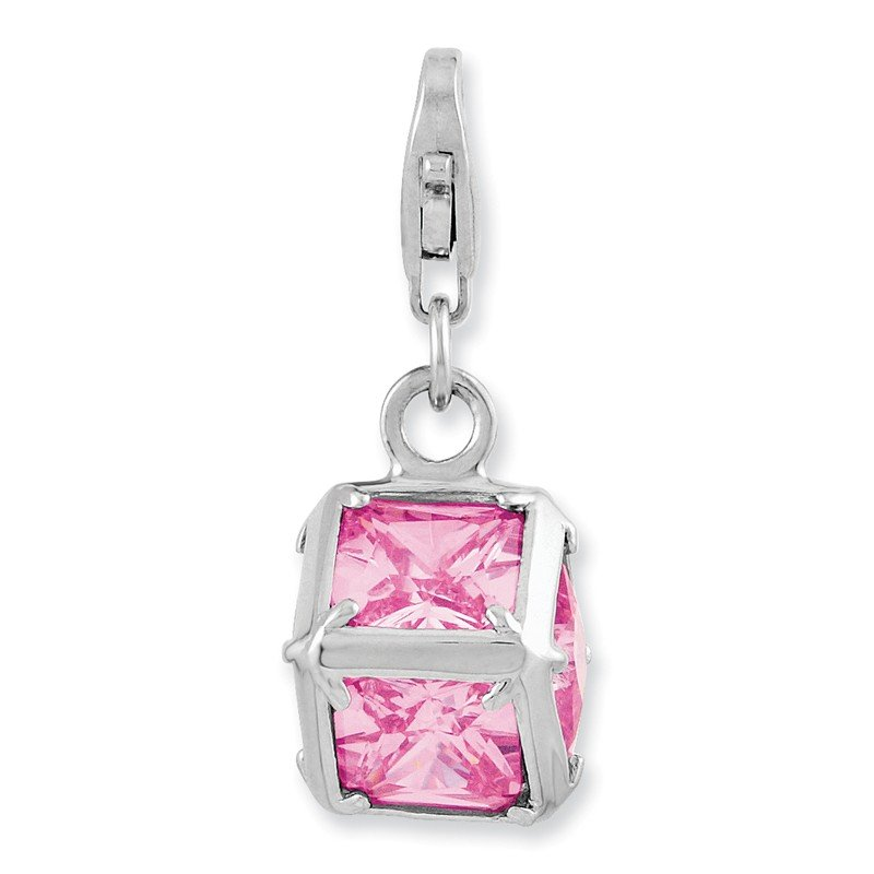 Quality Gold Sterling Silver Rhodium plated 3-D Pink CZ w/Lobster Clasp Charm