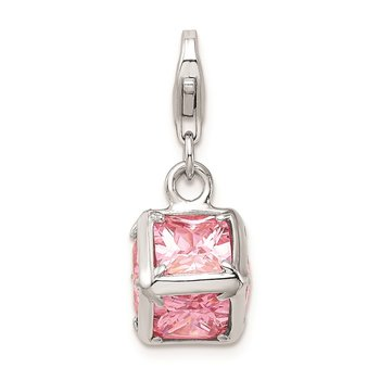 Sterling Silver Rhodium plated 3-D Pink CZ w/Lobster Clasp Charm