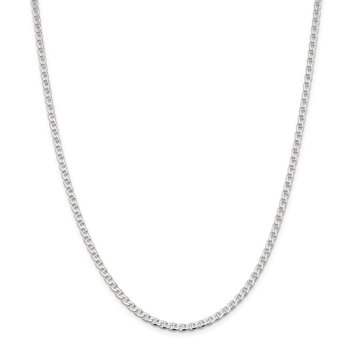 Sterling Silver 3.15mm Flat Cuban Anchor Chain Anklet