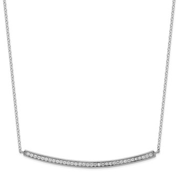Sterling Silver Rhodium-plated CZ w/2in ext. Bar Necklace