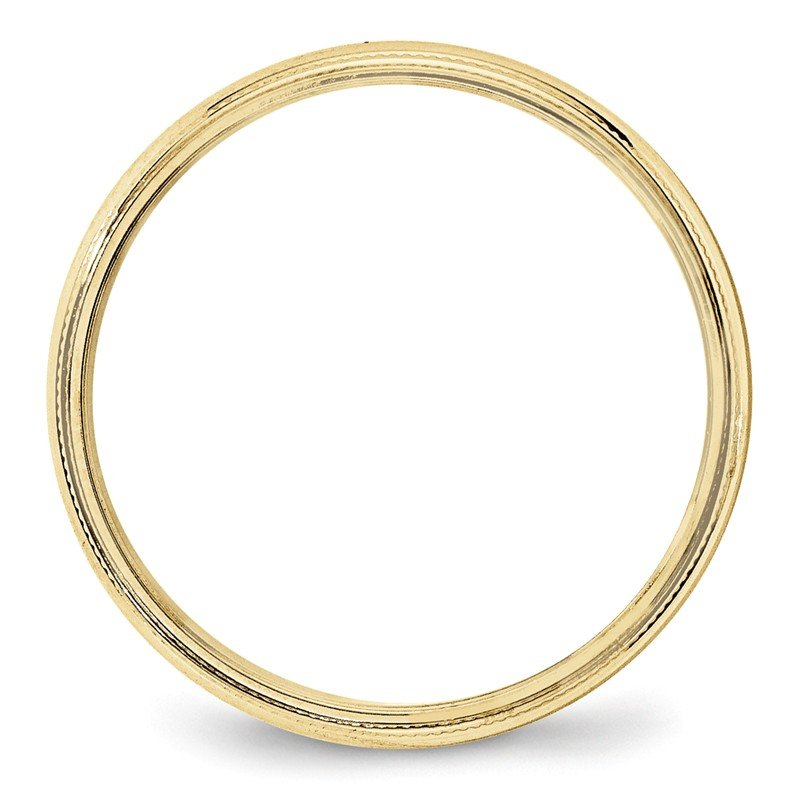 Quality Gold 10KY 4mm Milgrain Half Round Band Size 10