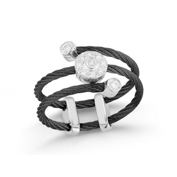 Black Cable Flex Ring with Round Diamond Stations set in 18kt White Gold