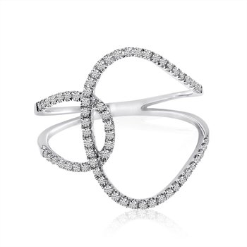 14k White Gold Minimalist Interwoven Diamond Fashion Ring