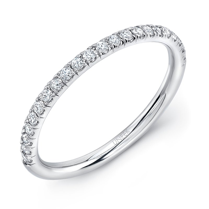 Uneek Fine Jewelry Uneek Silhouette Pave Diamond Wedding Band in 14K White Gold