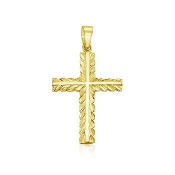 14K Yellow Gold Leaf Cross Pendant