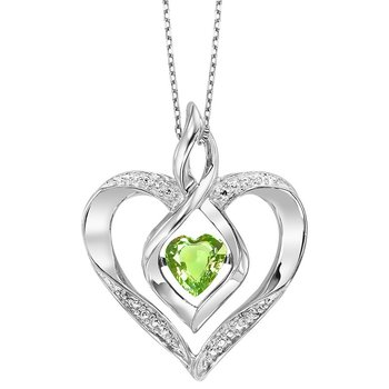 Diamond & Synthetic Peridot Heart Infinity Symbol ROL Rhythm of Love Pendant in Sterling Silver