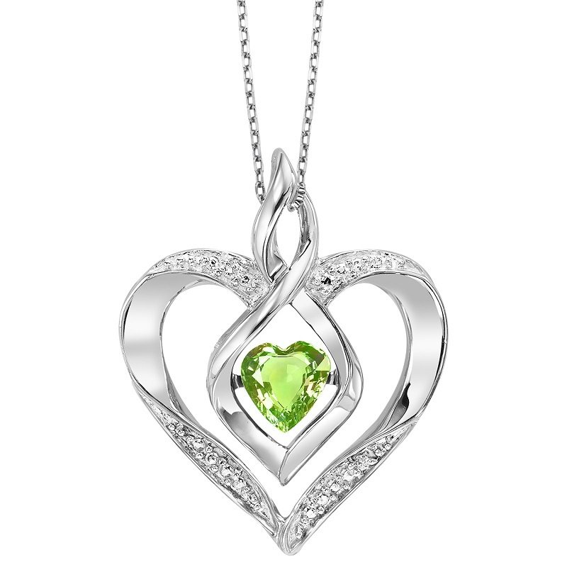 Rhythm of Love Silver Diamond & Created Peridot Pendant