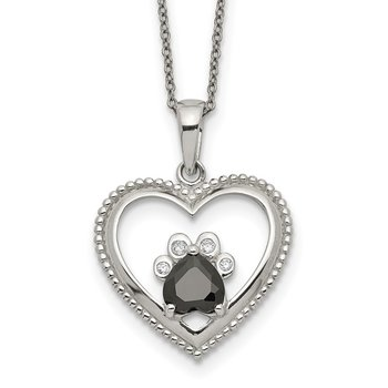 Sterling Silver Black and White CZ Heart with Paw Print 18 inch Necklace