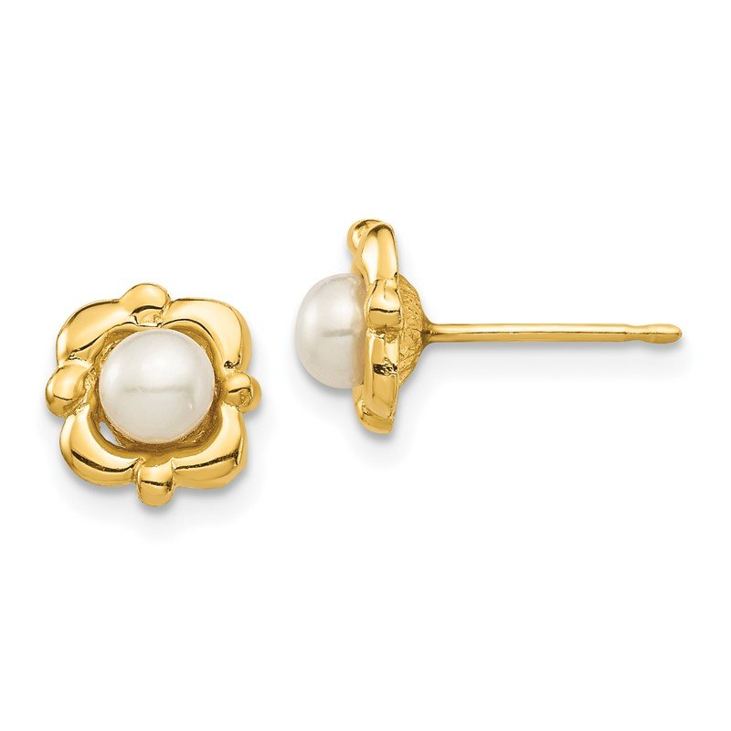 Quality Gold 14k Madi K 4-5mm White Button Freshwater Cultured Pearl Post Earrings