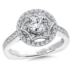Valina Bridals Halo Engagement Ring Mounting in 14K White Gold (.38 ct. tw.)
