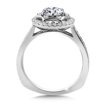 Halo Engagement Ring Mounting in 14K White Gold (.38 ct. tw.)