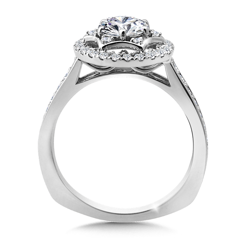 Valina Halo Engagement Ring Mounting in 14K White Gold (.38 ct. tw.)