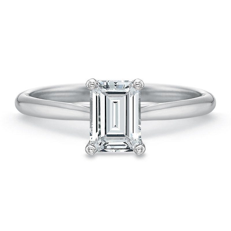 18K White Gold Solitaire for 1.00 ct Emerald shape center