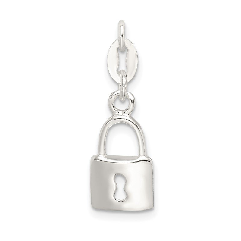 Quality Gold Sterling Silver Polished Lock & Key Charm