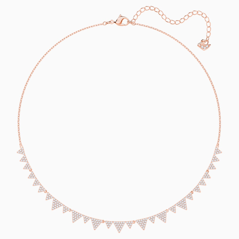 Swarovski Lima Necklace, White, Rose-gold tone plated