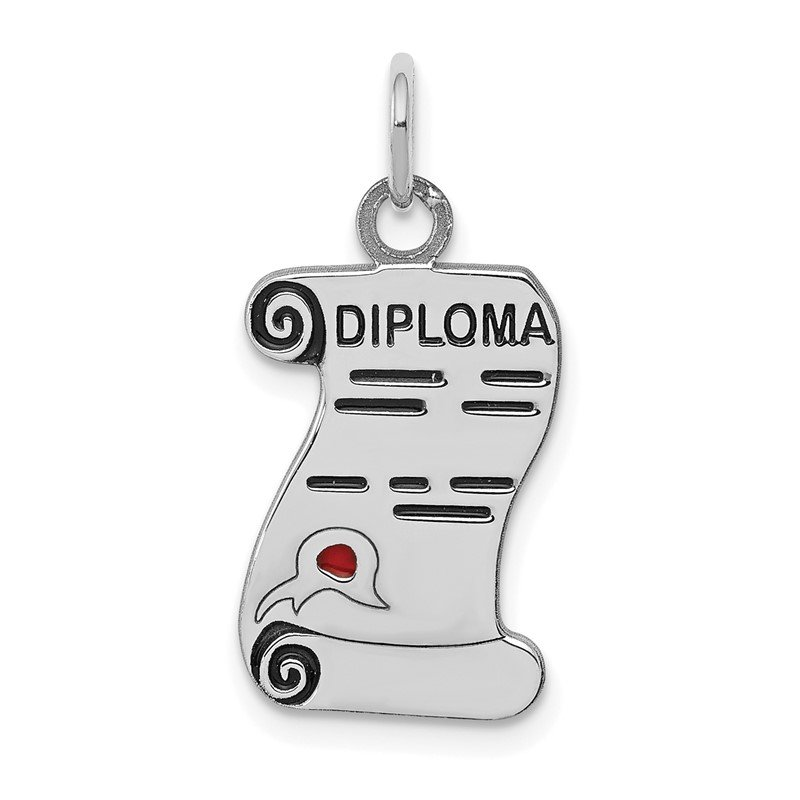 Quality Gold Sterling Silver Rhodium-plated Diploma Polished Charm