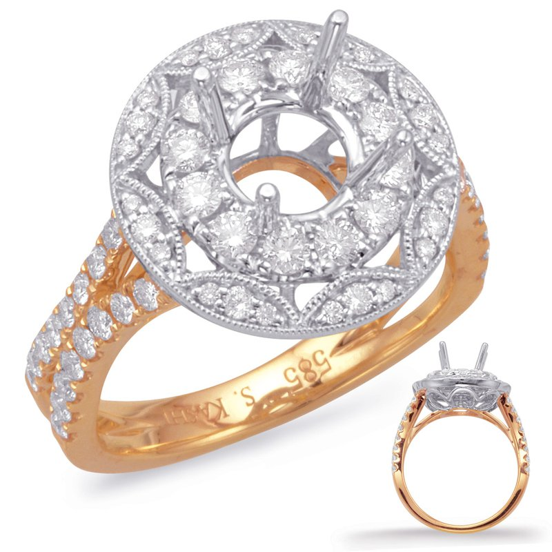 S. Kashi  & Sons Rose & White Halo Engagement Ring