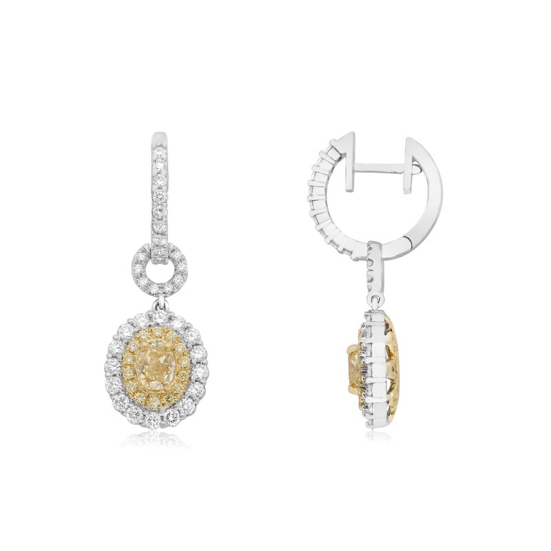 Roman & Jules Double Halo Two Tone Diamond Earrings