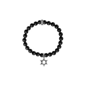 8Mm Black Onyx Bead Bracelet With Silver Star Of David