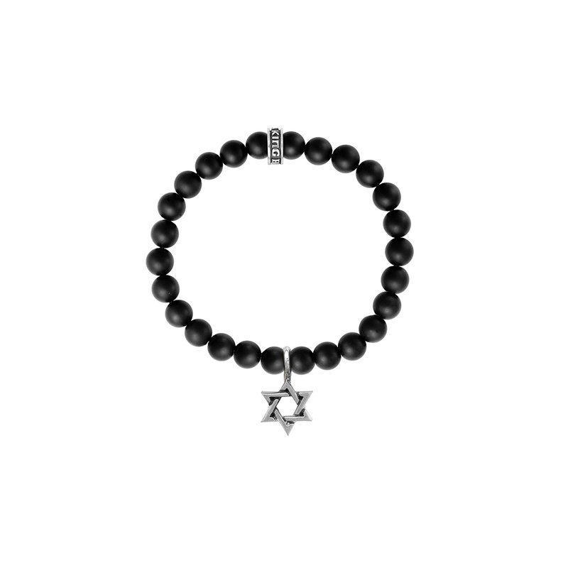 King Baby 8Mm Black Onyx Bead Bracelet With Silver Star Of David