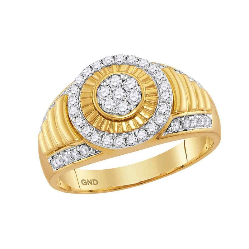 Gold-N-Diamonds, Inc. (Atlanta) 10kt Yellow Gold Mens Round Diamond Cluster Concentric Circle Ribbed Ring 3/4 Cttw
