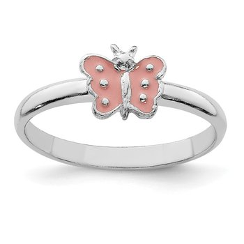 Sterling Silver RH Plated Child's Enameled Butterfly Ring