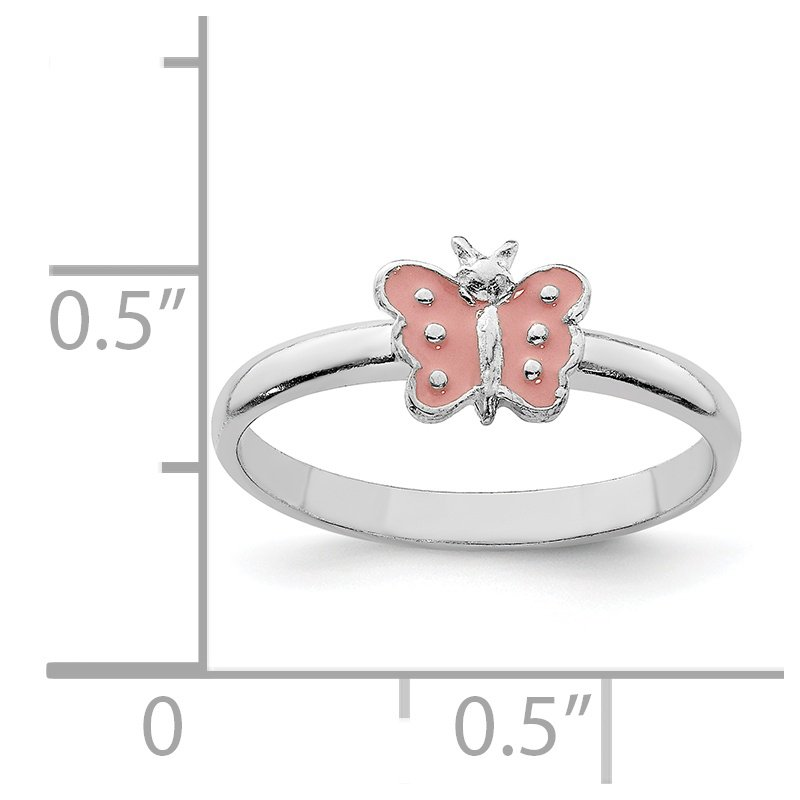 Quality Gold Sterling Silver RH Plated Child's Enameled Butterfly Ring