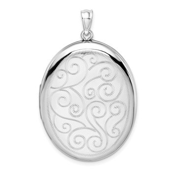 Sterling Silver Rhodium-plated Swirls 34mm Oval Locket