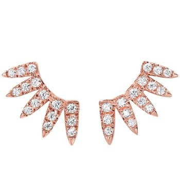Diamond Feather Earrings in 14K Rose Gold (1/2 ct. tw.)