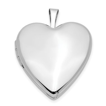 14K 20mm White Gold Plain Polished Heart Locket