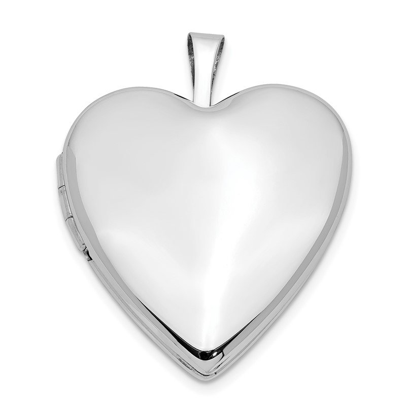 Quality Gold 14K 20mm White Gold Plain Polished Heart Locket