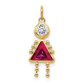 14k July Girl Birthstone Charm