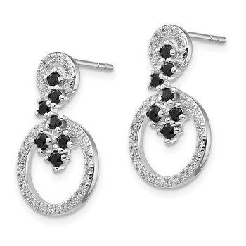 Sterling Silver Rhodium-plated CZ and Spinel 2-Circle Post Earrings