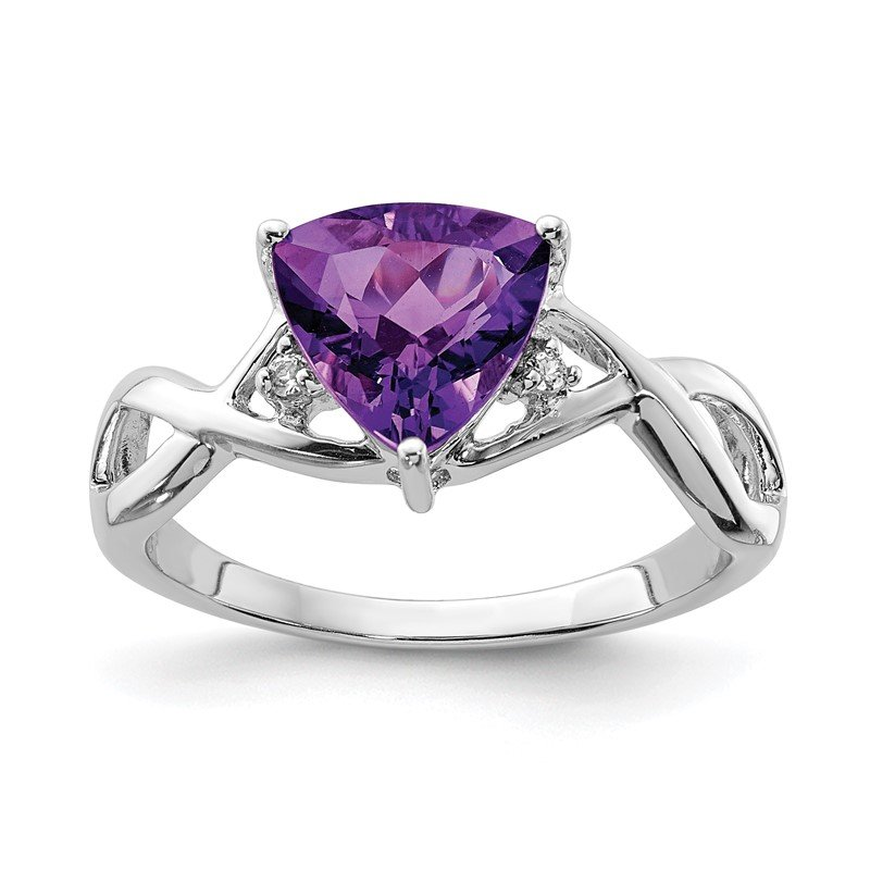 Quality Gold Sterling Silver Rhodium Plated Amethyst White Topaz Trillion Ring